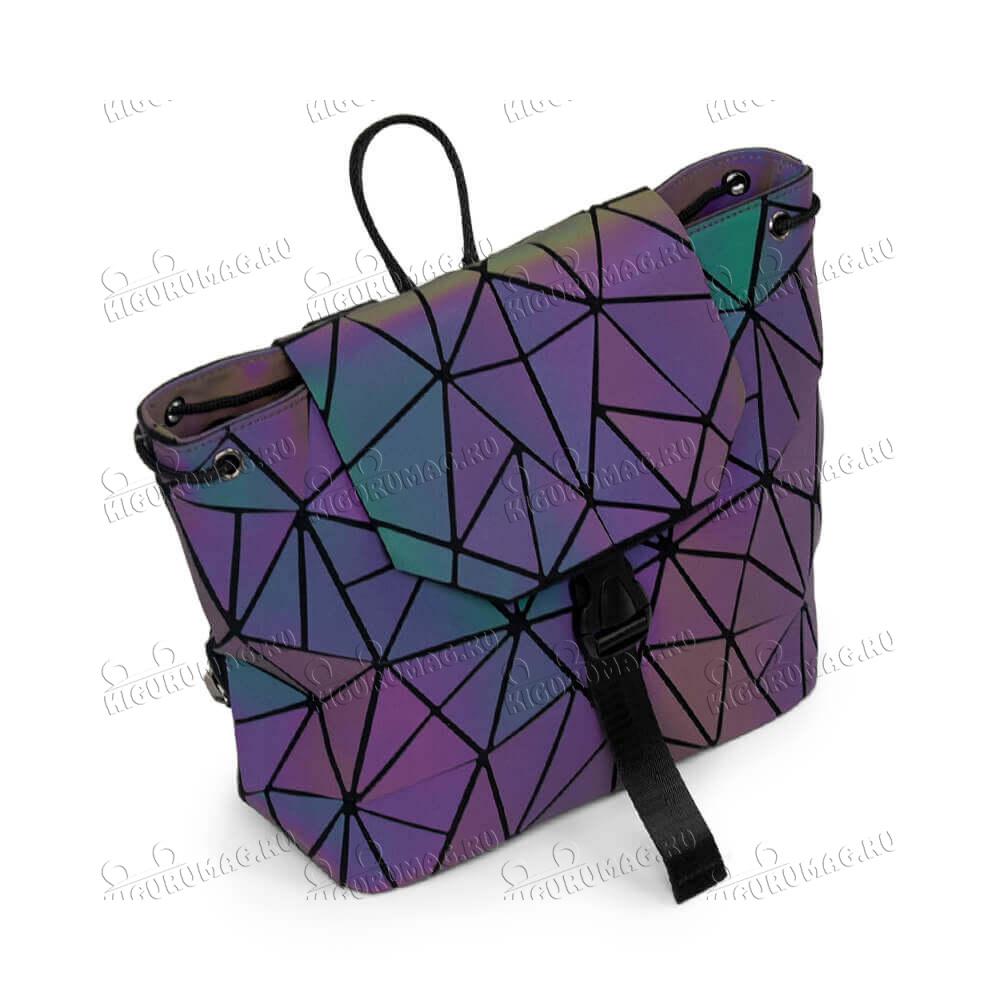 Рюкзак Хамелеон неоновый, узор треугольный - 5