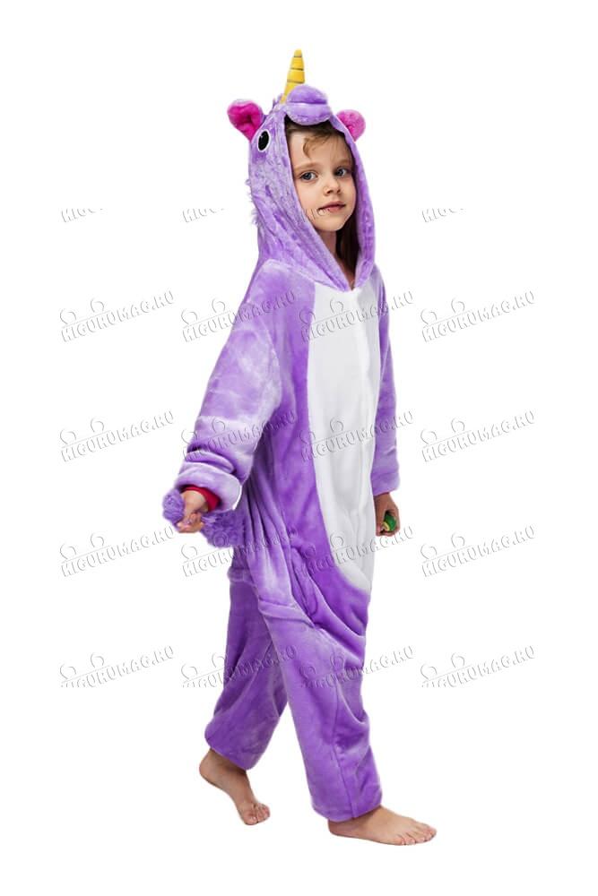 Кигуруми детский Единорог Фиолетовый - 4