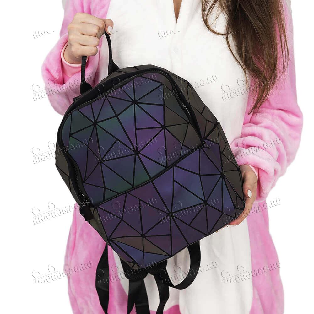 Рюкзак Хамелеон неоновый, узор геометрический на замке - 3
