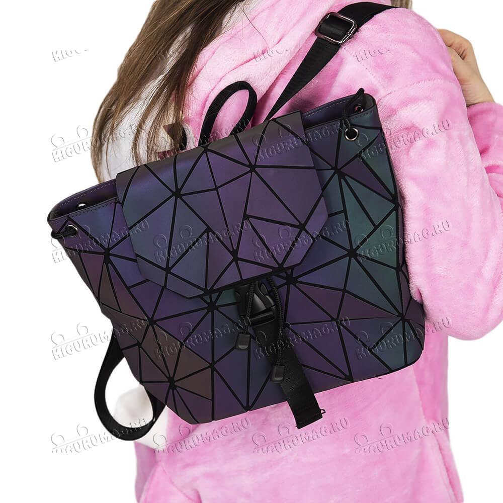Рюкзак Хамелеон неоновый, узор треугольный